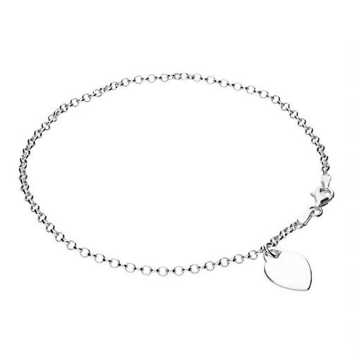 Silver ankle chain - heart